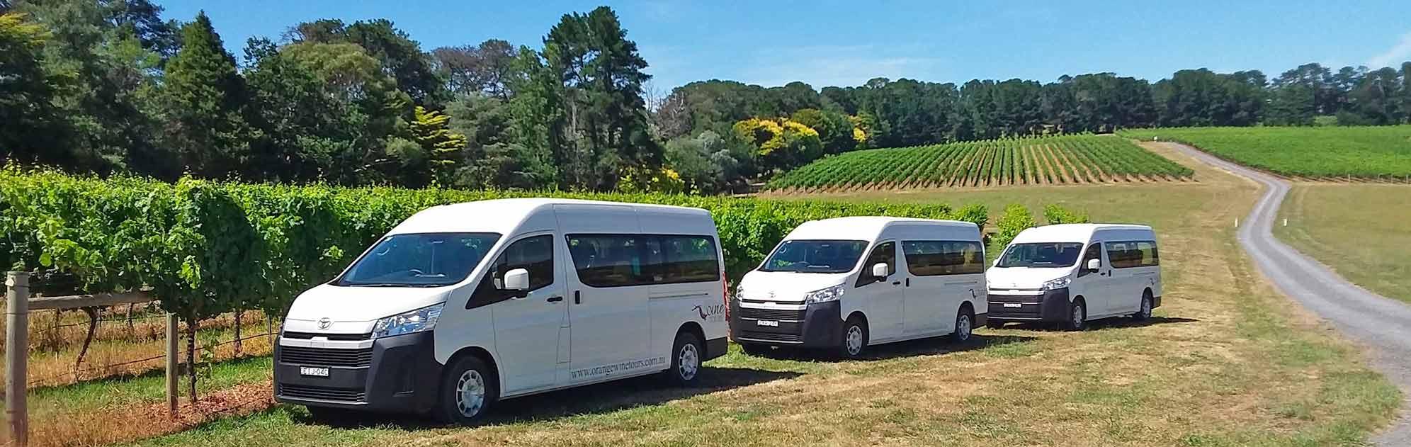 Three tour vans